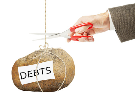 arrears: Man wants to cut a rope on which hangs heavy stone with debts. Getting rid of arrears