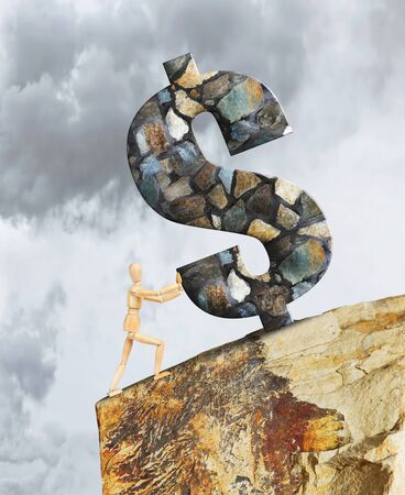marioneta de madera: Man holding the Dollar from falling down a cliff. Abstract image with a wooden puppet