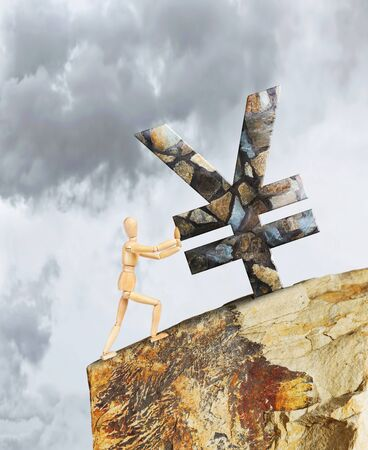 steep cliff sign: Man holding the Yen from falling down a cliff. Abstract image with a wooden puppet