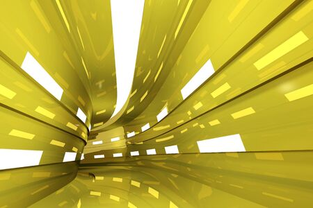 Abstract geometric background with golden tunnel going to perspective. 3d render Stock Photo
