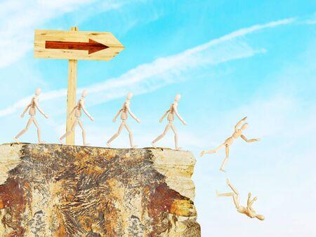 marioneta de madera: La señal de tráfico muestra el camino a un abismo. Imagen conceptual con marionetas de madera