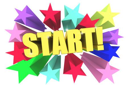 Start golden word among bright multicolored stars. 3d render Stock Photo