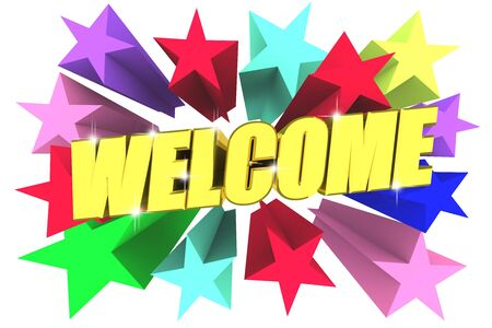 Welcome golden word among bright multicolored stars. 3d render Stock Photo