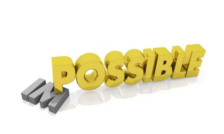 Possible against Impossible. Abstract 3d rendered image Stock Photo