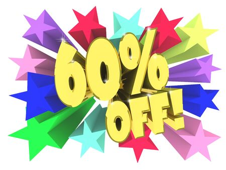 Sixty percent discount. Golden text among bright multi colored stars. 3d render