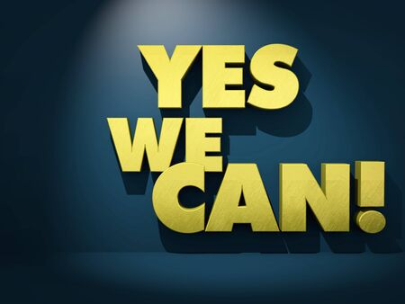 Yes We Can. Golden text against dark background. 3d render Stock Photo