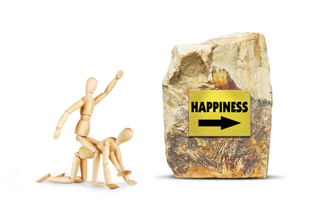 Man rides on another person towards happiness. Abstract image with wooden puppets