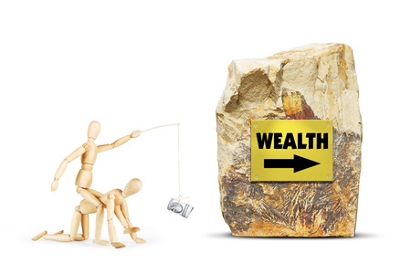 Man rides on another person towards wealth. Abstract image with wooden puppets
