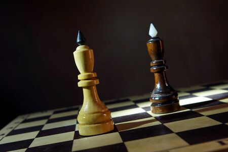 Black and white chess kings one in front of other. Competition of equal adversaries. Concept with wooden chess pieces