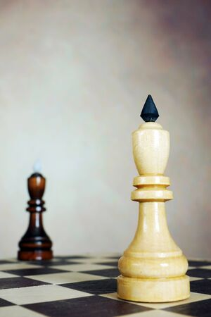 Confrontation. Two chess kings stand on opposite corners of a chessboard. Conceptual image Фото со стока