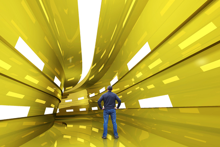 Man stands in a golden tunnel with a turn into the unknown