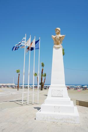 LARNACA, CYPRUS - AUGUST 08, 2018. Bust of Cimon, athenian general, on the Phinikoudes promenade Editöryel