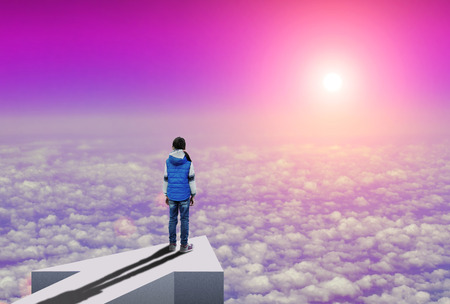 Little girl stands on an arrow high above the clouds and looks how sun rising over the horizon