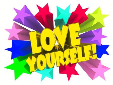 Love Yourself slogan. Golden text with vivid stars. 3d render