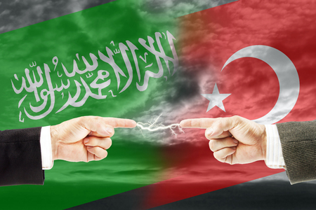 Confrontation and enmity between Saudi Arabia and Turkey. Conflict and stress in the international policy Stock Photo