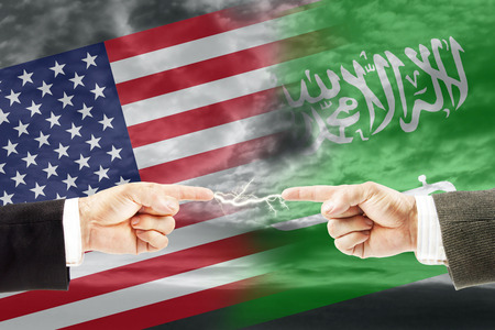 Confrontation and enmity between Saudi Arabia and United States of America. Conflict and stress in the international policy Stock Photo