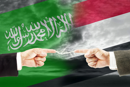 Confrontation and enmity between Saudi Arabia and Yemen. Conflict and stress in the international policy Stock Photo