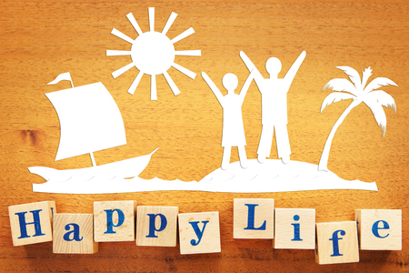 Happy Lifestyle. Concept with scrapbooking on a wooden desk