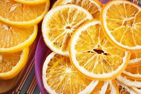 Healthy fruit chips made of orange. Vegetarian dietary food
