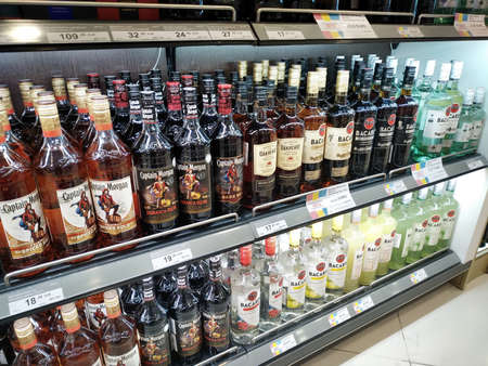 MOSCOW, RUSSIA, SEPTEMBER 21, 2019. Bottles with alcoholic drinks are sold at a duty free shop at the Domodedovo Airport