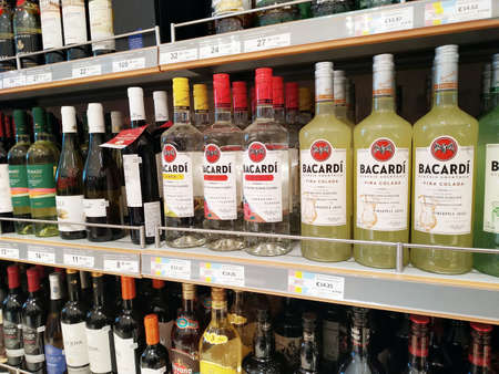 MOSCOW, RUSSIA, SEPTEMBER 21, 2019. Spirits are sold in a duty-free shop at the Domodedovo airport