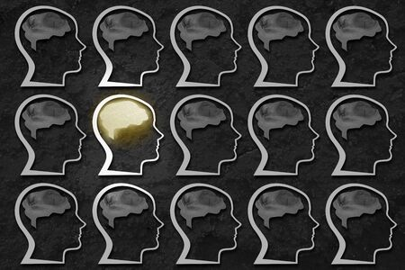 Outstanding mind among ordinary brains. Conceptual image