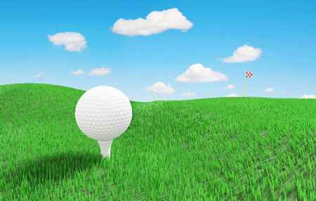 White golf ball on a green grassy meadow and a remote flag on horizon. 3D illustration Фото со стока