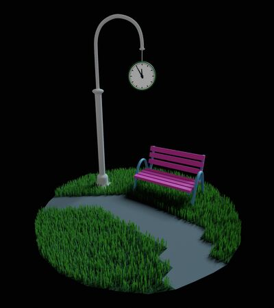 Bench stands near a pillar with street clock on a green grassy lawn in the night. 3D illustration