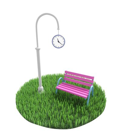 Bench stands near a pillar with street clock on a green grassy lawn. 3D illustration