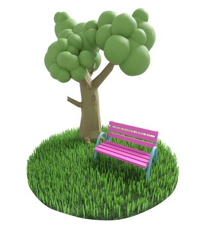 Bench stands near a tree on a green grassy lawn. 3D illustration