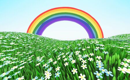 Bright rainbow over a green grassy flowering meadow. 3D illustration Фото со стока