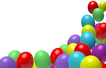 Corner made of bright multi colored festive balloons on white background. 3D illustration 免版税图像