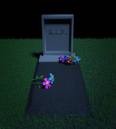 Grave with a tombstone and the inscription RIP and flowers on it on the grassy lawn in the night. 3D illustration