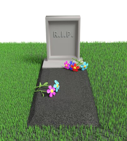 Grave with a tombstone and the inscription RIP and flowers on it on the grassy lawn. 3D illustration