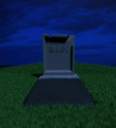 Grave with a tombstone and the inscription RIP on it on the grassy lawn in the night. Low depth of field. 3D illustration