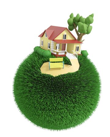 Green grassy globe with a little detached house and a tree and a bench on the top. Isolated on white background. 3D illustration