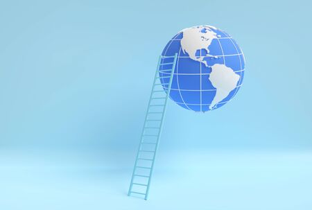 Ladder leans to Globe against blue solid background. 3D illustration