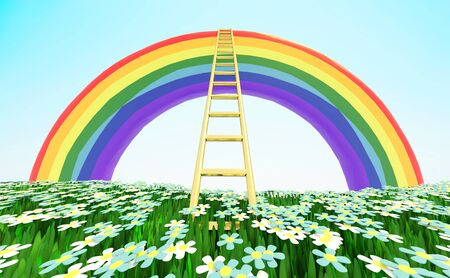 Ladder rising to the bright rainbow over a green grassy flowering meadow. 3D illustration