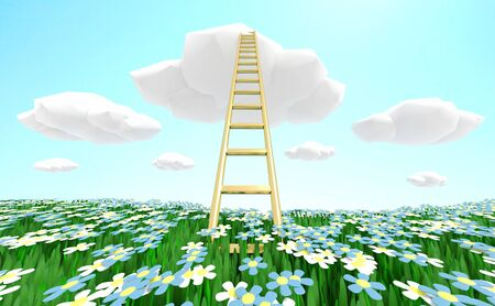 Ladder rising to the cloud over a green grassy flowering meadow. 3D illustration Фото со стока