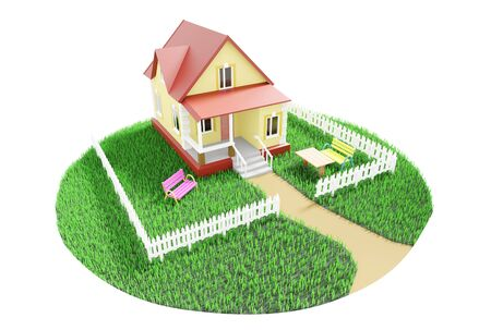 Little cozy house behind a fence on a green grassy lawn. 3D illustration