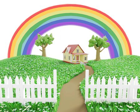 Little cozy house behind a white fence on a green grassy meadow under the rainbow. 3D illustration