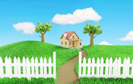 Little cozy house behind a white fence on a green grassy meadow. 3D illustration