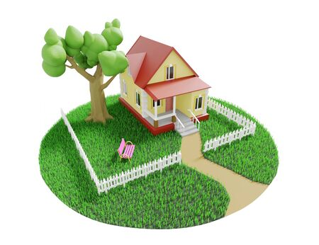 Little cozy house with a tree behind a fence on a green grassy lawn. 3D illustration Фото со стока