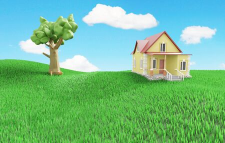Little cozy house with a tree on a green grassy meadow. 3D illustration