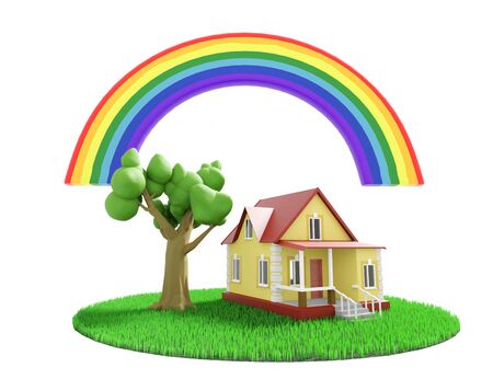 Little cozy house with a tree under the rainbow on a green grassy lawn. 3D illustration Фото со стока