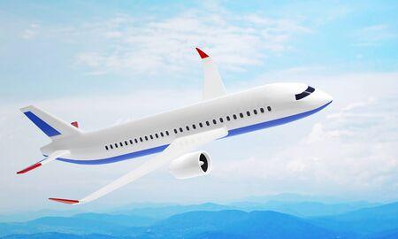 Modern plane flying high in the sky over mountains. 3D illustration 免版税图像