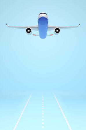 Modern plane is taking off against solid blue background. 3D illustration 免版税图像