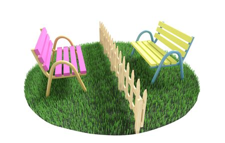Two benches stand on different sides from a fence on a green grassy lawn. 3D illustration