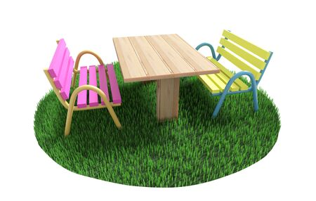 Two benches stand on different sides from a table on a green grassy lawn. 3D illustration Фото со стока