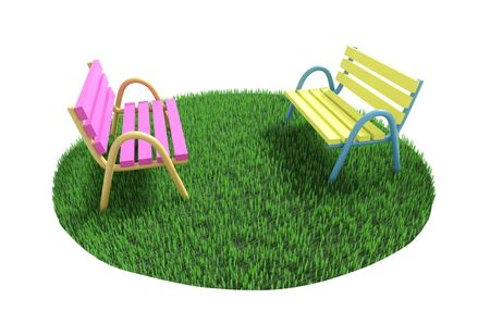 Two benches stand one in front of other on a green grassy lawn. 3D illustration
